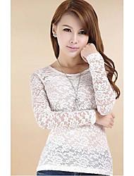Women's Lace Beige/Black/White Round Neck Long Sleeve Lace
