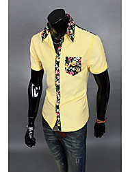 Aowofs Men's Colorful Pocket Shirt 8838 yellow