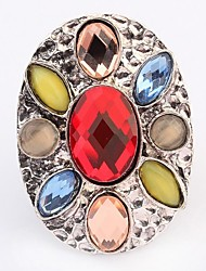 Women's Bohemia Fancy Beaded Oval Shape Personality Statement Ring