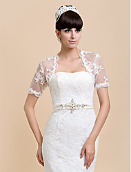 Wedding  Wraps Shrugs Short Sleeve Lace Ivory / White Wedding / Party/Evening / Casual T-shirt Open Front