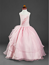 Ball Gown Floor-length Flower Girl Dress - Organza Satin Spaghetti Straps with Appliques Beading