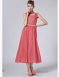 TS Vintage Pokal Dot Casual Chiffon Maxi Dress