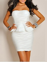 Women's White Cut Out Sexy  Party Mini Dress