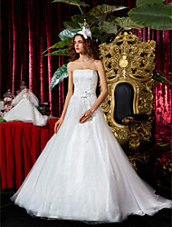Lanting A-line Princess Strapless Court Train Tulle Wedding Dress