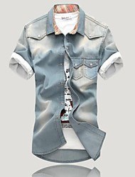 Taichang Продукция ТМ мужская джинсовая рубашка с коротким рукавом с карманами