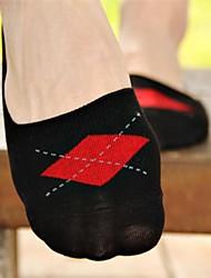 correspondência de cores meias de algodão curtos pequeno diamante dos homens (5 pares / pack)