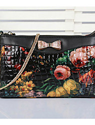 Mega Women's Elegant Floral Print Portable Leather Handbags
