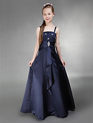 Floor-length Satin Junior Bridesmaid Dress - Dark Navy A-line / Princess Spaghetti Straps