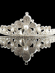 Wedding Silver Plated Pearl Flower Tiaras Hair Jewelry