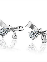 Silk Road Platinum Plating Bow Decorate Ear Studs (Screen Color)