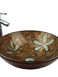 Multicolor Round Tempered Glass Vessel Sink with Bamboo Faucet ,Pop - Up Drain and Mounting Ring