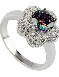 Fashion 925 Silver Plated Copper Rainbow Zircon Ring