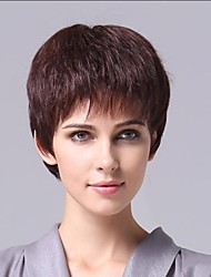 Capless Sex Human Hair  Brown Curly Short Wig