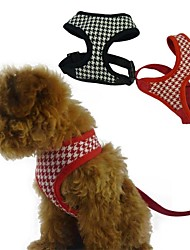 Dog Harness Adjustable/Retractable Red / Black Textile