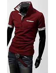 Men's Plus Size White/Black/Blue Check Contrast Color POLO T-Shirt