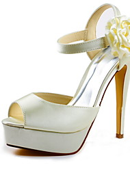 Women's Spring Summer Fall Platform Stretch Satin Satin Wedding Stiletto Heel Platform Satin FlowerBlack Red Ivory White Silver Gold