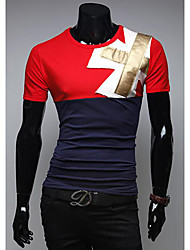 Debe Herren Rundhals Kontrast Farbe Ärmel-T-Shirt