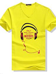 Fhonier Herren Yellow Floral Print V-Ausschnitt Kurzarm-Freizeit-T-Shirt