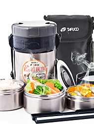 """Stainless Steel Insulation Lunch Box Suit,Inner Plastic outer Steel ,L6.5""""*W6.5""""*H10"""""""