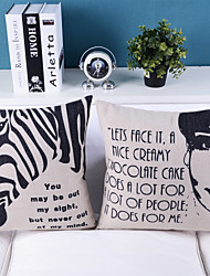 Set Of 2 Cute Vividly Painted Zebra And Beauty Decorative Pillow Covers