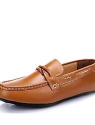 Men's Spring Summer Fall Moccasin Leather Office & Career Casual Flat Heel Camel Black Blue
