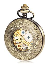 Masculino Relógio de Bolso Mecânico - de dar corda manualmente Gravação Oca Lega Banda Bronze marca-