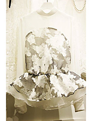 Women's Crew Neck Ruffle Blouse , Chiffon Black/White Casual/Lace Long Sleeve