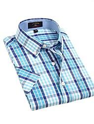 Casual pourpre LT Bleu Blanc Couvertures de U-hommes de requin Vérifie 100% coton T-shirt manches courtes Blouse Top EOZY DSX-006