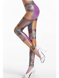 Donna Shiny Neon irregolare Tie Dye Leggings