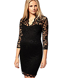 Women's V Neck Sexy Bodycon Lace 3/4 Sleeve Dress