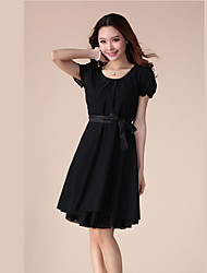 Handu Women's Short Sleeve Chiffon Dress For  Summer Day Black
