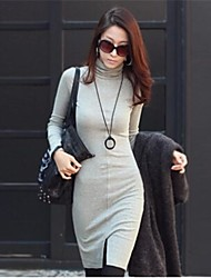 Women's New Fashion High Neck Long Sleeve Dress