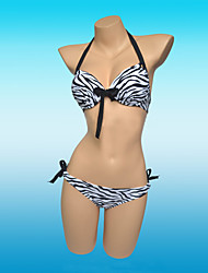 Mujer Con Cordones Halter Bikini Animal Push Up,Licra,Estampado Animal