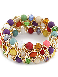 Golden Plated Tophu Three-row Bead Bracelet (Aorted Color)