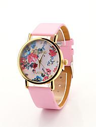 Cdong Frauen Blumen Dial Watch (Pink)