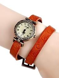 Women's Vintage Flower Engraved Long Leather Band Quartz Analog Bracelet Wrist Watch (Assorted Colors) Cool Watches Unique Watches