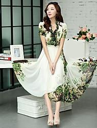 boemia print floral vestido midi plissada das mulheres