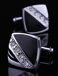 Dress Cufflinks For Men with Crystal Square Diamond (1pair)