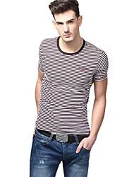 Summer Casual col rond blancs pourpres rayées de mode T-shirts U-requin hommes Sauvegarde shirt EOZY