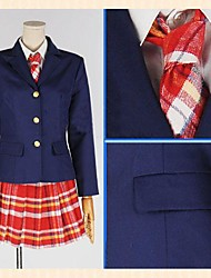 Inspired by Love Live Honoka Kōsaka Anime Cosplay Costumes Cosplay Suits Plaid Red Long Sleeve Coat / Shirt / Skirt