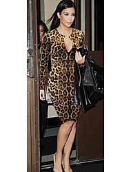 Mujeres HGJ Leopard Sexy vestido de manga larga Bodycon