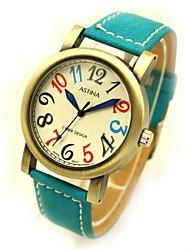 Unisexe cadran rond PU bande de montre-bracelet de bronze de quartz (couleurs assorties)