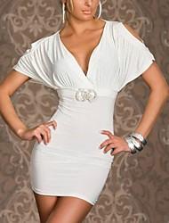 Algodón Sexy cuello en V de la Mujer XiXiangYi ® y Spandex Vestido