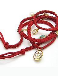 Korean Popular Multi Leather Preparation Love Strawberry Crown Shell Pearl Bracelet