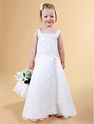 A-line Princess Floor-length Flower Girl Dress - Lace Satin Square Straps with Appliques Beading Buttons Lace