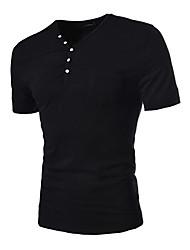 Verano Hombre Últimas Button Decoración delgada de manga corta camiseta