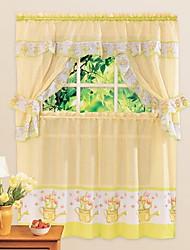 Country Cute Cartoon Style Pot Pattern Kitchen Curtain - 5 pcs