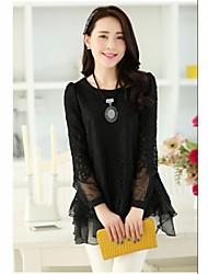 JIANFANSU women's long sleeve sweet lace slim splice shirt