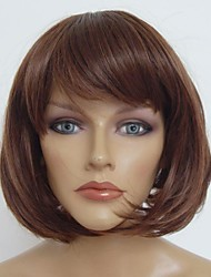 Capless Short Dark  Brown  Bobo Straight High Quality Synthetic Japanese High Temperature Resistant Fiber Wigs