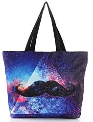 Женские повседневные Galaxy Усы Канва с напечатанным рисунком Торговый Tote сумки